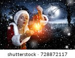 santa claus woman with lamp and ... | Shutterstock . vector #728872117
