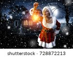 santa claus woman with lamp and ... | Shutterstock . vector #728872213
