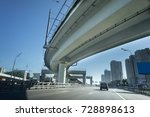 large crossing elevated traffic ... | Shutterstock . vector #728898613