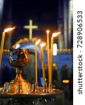 Small photo of church. Orthodox Church. Christianity. church lighted candles. icon. religion.