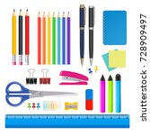 vector realistic stationery... | Shutterstock .eps vector #728909497