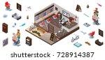 isometric infographic 3d barber ... | Shutterstock .eps vector #728914387