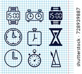 set of 9 timer filled and... | Shutterstock .eps vector #728939887
