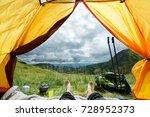 legs of the traveler in a tent... | Shutterstock . vector #728952373
