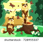 two cats in the forest admire... | Shutterstock .eps vector #728955337
