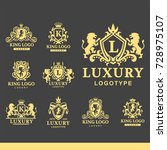 luxury boutique royal crest... | Shutterstock .eps vector #728975107