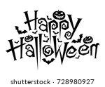 Happy Halloween Text  Vector...