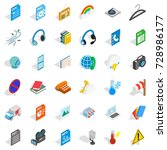 mobile app icons set. isometric ... | Shutterstock . vector #728986177
