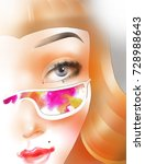 the red haired girl with glasses | Shutterstock . vector #728988643
