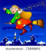 a funny old witch flies over... | Shutterstock . vector #72898891