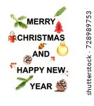 merry christmas and happy new... | Shutterstock . vector #728989753