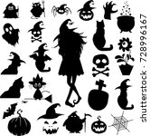 big halloween set of black... | Shutterstock .eps vector #728996167