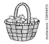 basket with apples engraving... | Shutterstock .eps vector #728998573