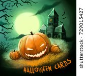 halloween cards greeting poster ... | Shutterstock . vector #729015427