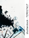 writer workplace with spilled... | Shutterstock . vector #729017617