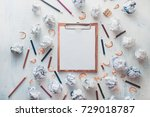 wooden tablet with blank pages  ... | Shutterstock . vector #729018787