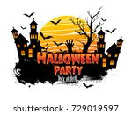 halloween party poster design ... | Shutterstock .eps vector #729019597