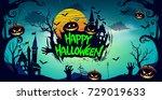happy halloween poster  night... | Shutterstock .eps vector #729019633