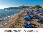 sandy beach  faliraki rhodes ... | Shutterstock . vector #729036217