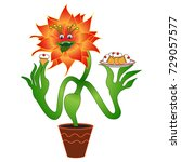 carnivorous vegetarian flower ...   Shutterstock .eps vector #729057577