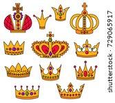 doodle royal crowns doodle... | Shutterstock .eps vector #729065917