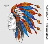 man in the native american... | Shutterstock .eps vector #729069847