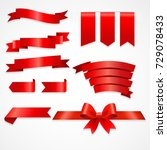 red ribbons big set with... | Shutterstock .eps vector #729078433