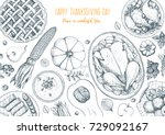 thanksgiving day top view... | Shutterstock .eps vector #729092167