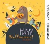 animals celebrating halloween | Shutterstock .eps vector #729097273