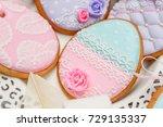 beautiful glazed easter cookies   Shutterstock . vector #729135337