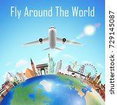 airplane fly around the world... | Shutterstock .eps vector #729145087