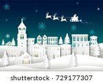 santa on night sky in city town ... | Shutterstock .eps vector #729177307