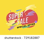 super sale poster and flyer.... | Shutterstock .eps vector #729182887
