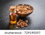 a bottle of myrrh essential oil ... | Shutterstock . vector #729190357