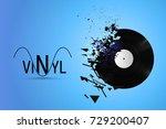 vinyl record exploded into... | Shutterstock .eps vector #729200407
