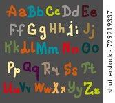 hand drawn alphabet. brush... | Shutterstock . vector #729219337