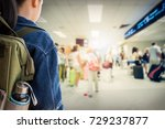 girl with backpack entering to... | Shutterstock . vector #729237877