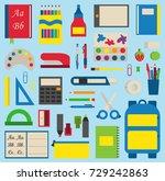 school supplies vector... | Shutterstock .eps vector #729242863