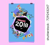 happy new year 2018 colorful... | Shutterstock .eps vector #729243247