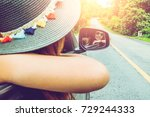 asian women travel relax in the ... | Shutterstock . vector #729244333