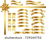 a set of various gold ribbons ... | Shutterstock .eps vector #729244753