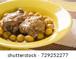 roasted gnocchi with chicken.   Shutterstock . vector #729252277