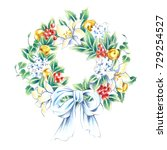 christmas wreath with white... | Shutterstock . vector #729254527