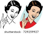a smiling woman pointing upwards | Shutterstock .eps vector #729259927