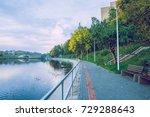 jugla lake in riga  autumn ... | Shutterstock . vector #729288643