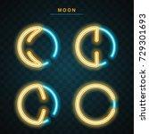 moon neon | Shutterstock .eps vector #729301693