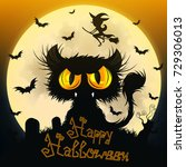 halloween black cat moon night... | Shutterstock .eps vector #729306013