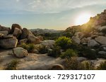 Small photo of The Barker Dam Area in Joshua Tree during the golden Hour. This area hosts a small lake, which contains an abundance of wildlife.