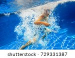 child swims with snorkel mask... | Shutterstock . vector #729331387