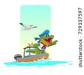 captain crocodile was riding a... | Shutterstock .eps vector #729337597